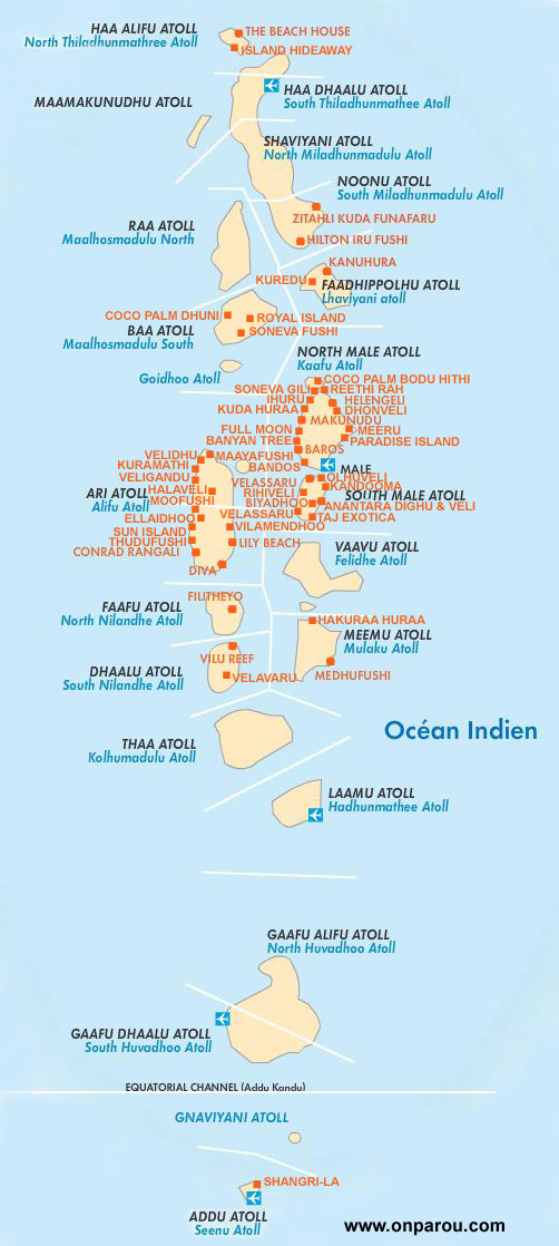 Carte de Maldives
